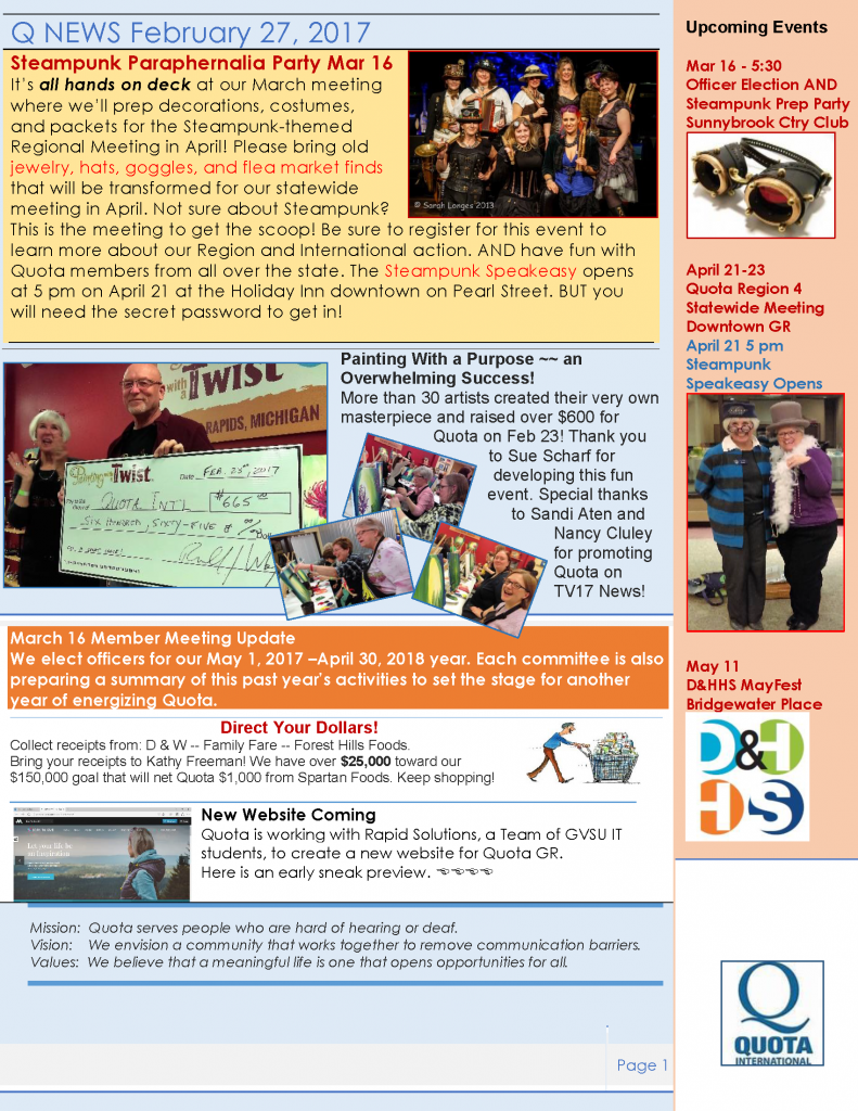 Quota Newsletter for February 2017.