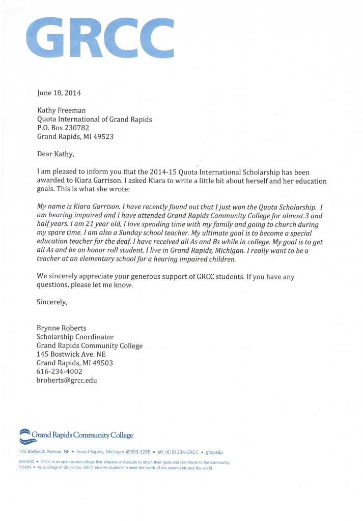 Letter from GRCC regarding the scholarship recipient Kiara.