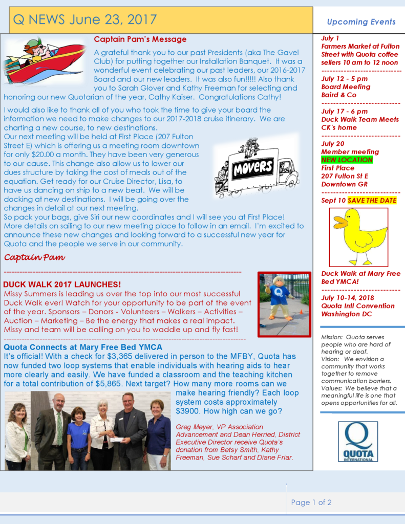 page 1 of May 2017 Quota Newsletter